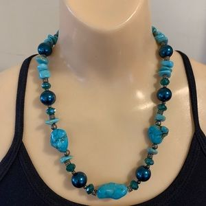 Vintage Turquoise Bead Crystal Statement Necklace